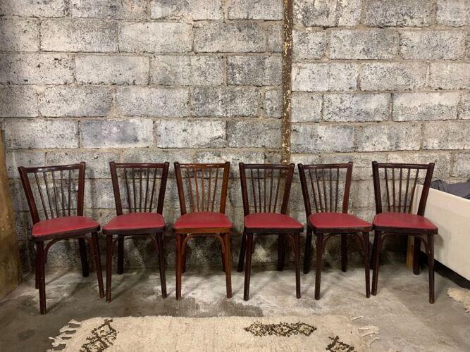 6 Chaises baumann bistrot troquet parisien bois de hêtre et skaÏ rouge - ancien et vintage