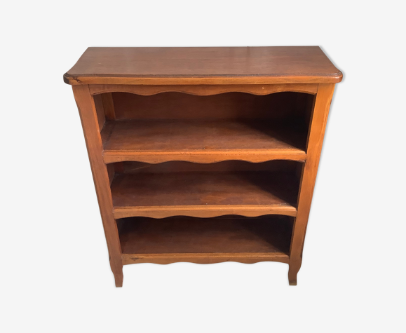 Bibliothèque basse vintage en bois peu profonde