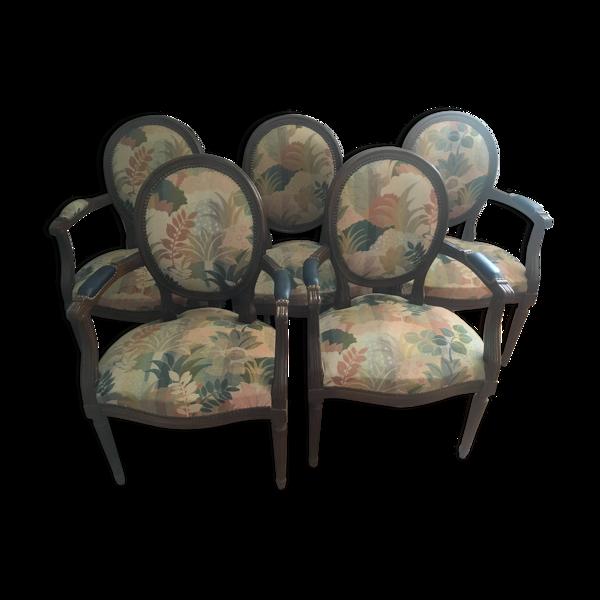Lot de 5 fauteuils médaillon