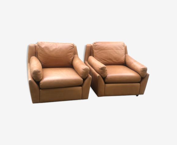 Paire de fauteuils en cuir Edelhard Harlis pour Mobilier International, modèle California 1965