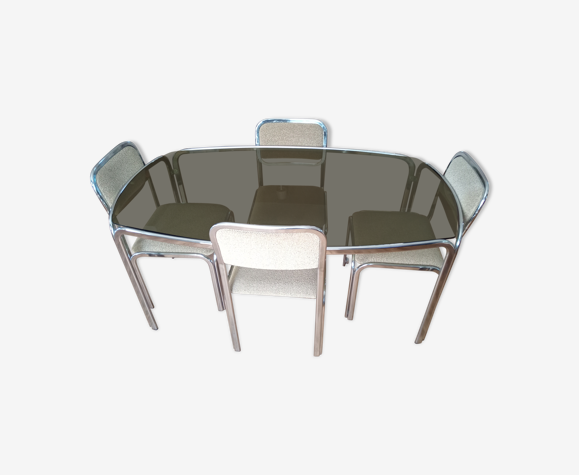 Table et 4 chaises années 70 piètement chromé et plateau en verre fumé chaises tissu vert d'eau