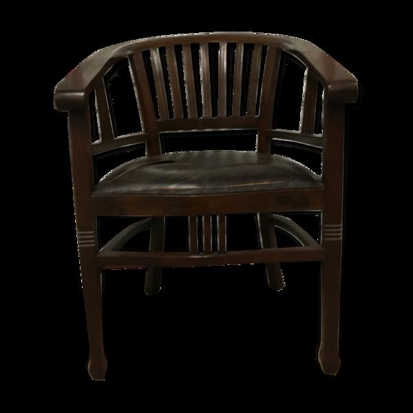 Fauteuil bureau cuir et bois