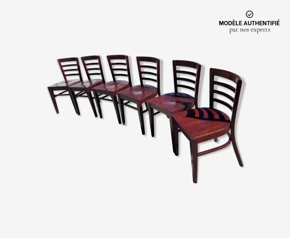 6 chaises de bistrot Thonet bois de marque Ton années 50/60