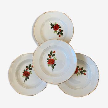 Set de 4 assiettes creuses à soupe vintage Moulin des loups décor roses rouge