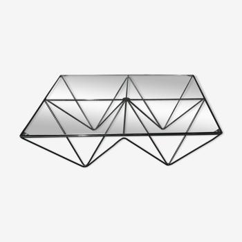 Table basse Diamant 1980 métal et verre