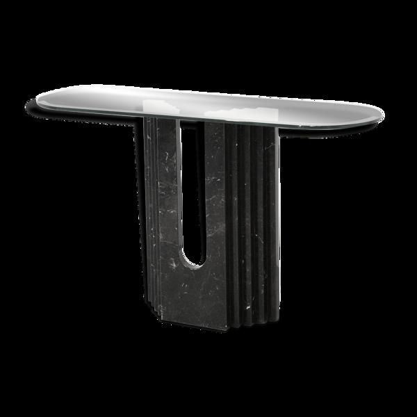 Console géométrique minimaliste des années 1980 en marbre noir de Carrare et verre de Cattelan Italia