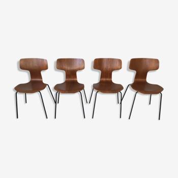 """Suite de 4 chaises """"marteau"""" par Arne Jacobsen pour Fritz Hansen, Années 70"""