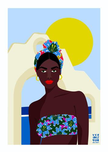 Santorin - illustration en édition limitée, format A3, Elisa Brouet