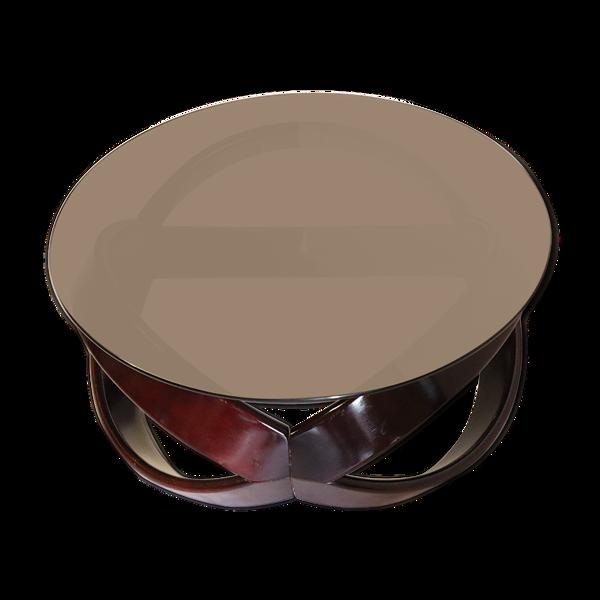Selency Table basse vintage en bois et verre 1960