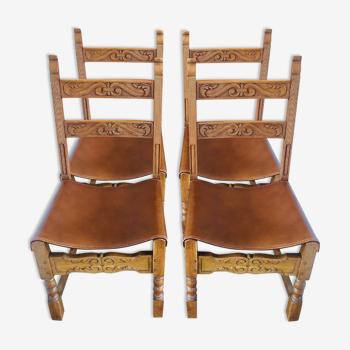 Lot de 4 chaises anciennes en bois et cuir