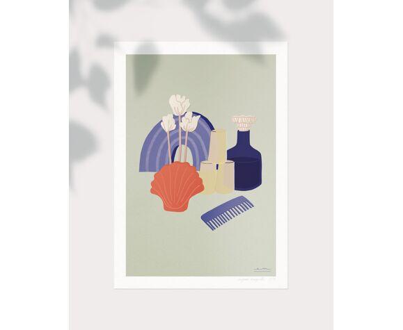 """Illustration """"trouvailles"""" vert amande"""