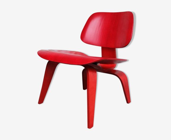 LCW Lounge Chair rouge par Charles & Ray Eames pour Evans, Herman Miller, 1948/49