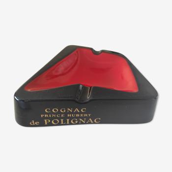Cendrier noir et rouge cognac prince Hubert de Polignac