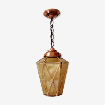 Lanterne en verre jaune et liserés dorés - structure laiton doré