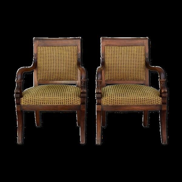 Paire de fauteuils en noyer de style restauration