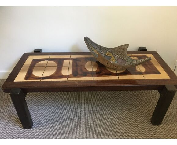 Table basse céramique vintage Gustave Raynaud