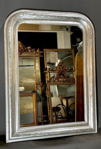Miroir 98x68 d époque Louis-Philippe argenté