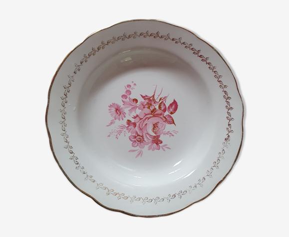Lot de 11 assiettes vintage a fleurs rose et bord doré digoin & sarregumines porcelaine france