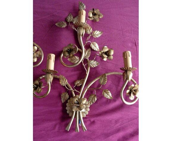 Paire applique métal verni doré feuilles fleurs roses italy