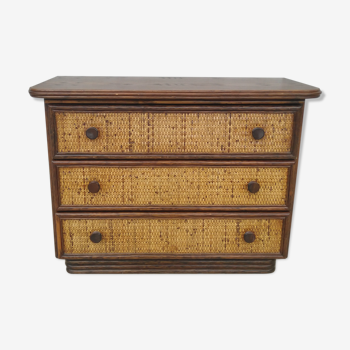 Commode en rotin vintage Maugrion