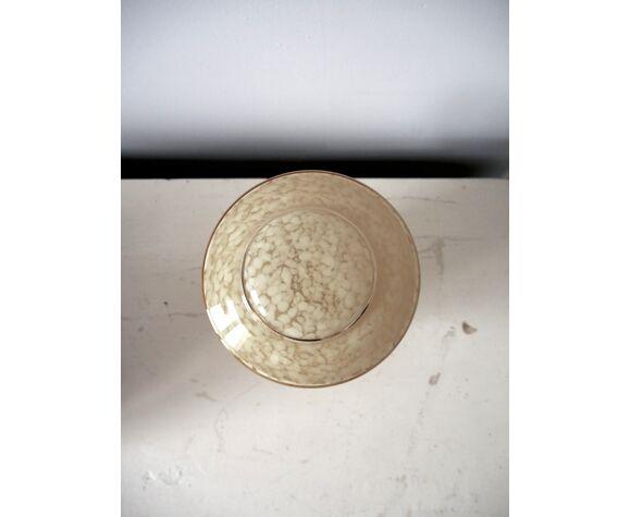 Lampe à poser en verre de Clichy jaune
