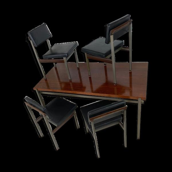Set table de salle à manger & chaises par Louis van Teeffelen pour WéBé 1960s set de 5