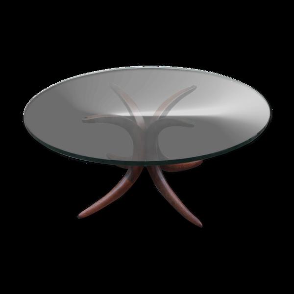 Table à café en verre et en bois, années 1960