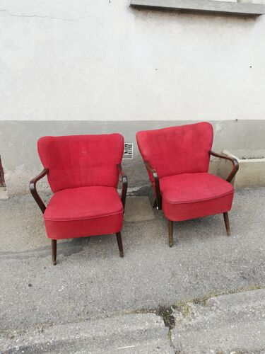 Pair of armrest cocktail armchairs