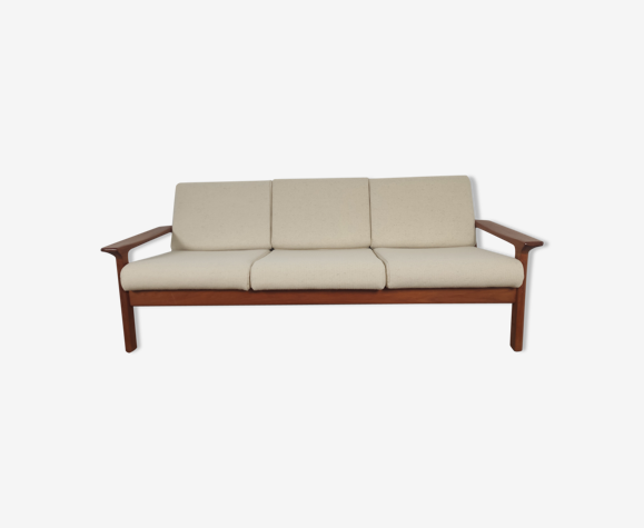 Canapé 3 places teck Juul Kristensen pour glostrup, danemark 1960s