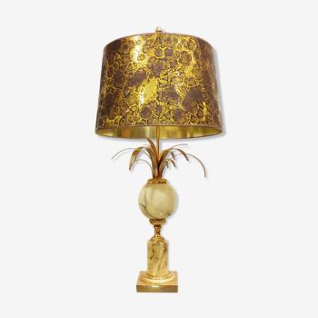 Lampe de table de feuille d'ananas de laiton et de marbre des années 60