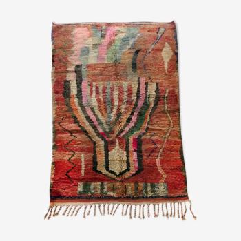 Tapis berbère marocain Boujaad ocre à motifs colorés 254x160cm