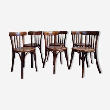 Lot 6 chaises bistrot années 50