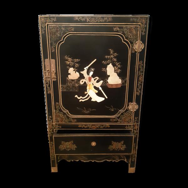 Meuble d entrée en bois laqué noir et décor nacré asiatique