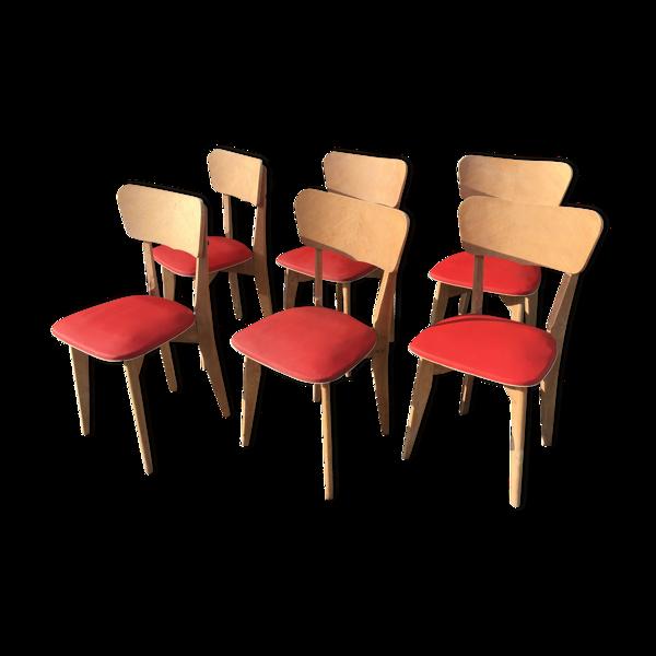 Chaises vintage en bois et skaï