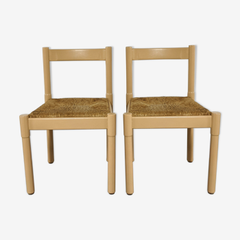 Pair of chairs Vico Magistretti model Carimate wood and straw bauche 1960's