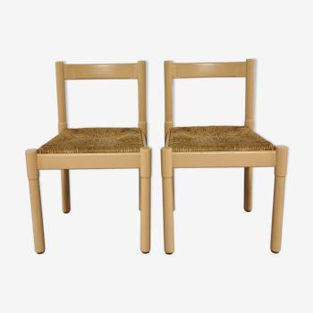 Paire de chaises Vico Magistretti modèle Carimate bois et paille bauche 1960 's