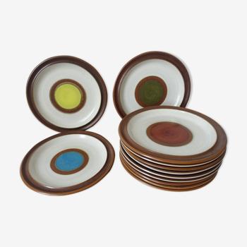 Set de 12 assiettes en grès émaillé Denby made in England 1970