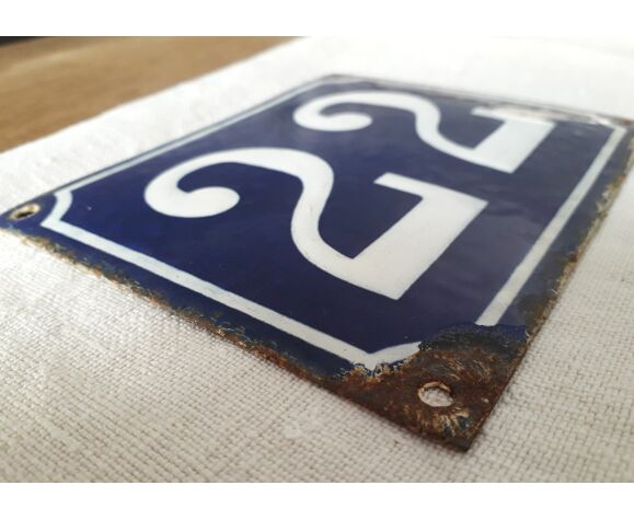 Plaque émaillée numéro de rue