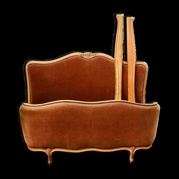 Selency Lit corbeille de style Louis XV en chêne cérusé XX siècle