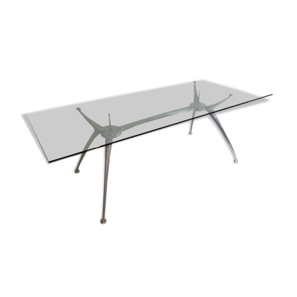Table de salle à manger en aluminium et verre