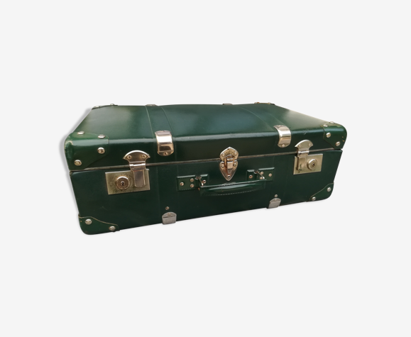 Valise ancienne en carton verte