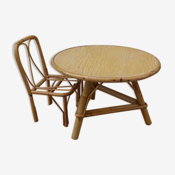 Table et chaise en rotin pour poupée