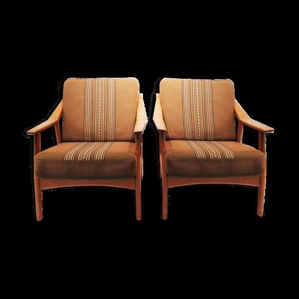 Paire de fauteuils en chêne par H. Brockmann Pedersen, années 1960