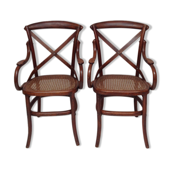 Paire de fauteuils bois et cannage