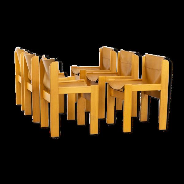 Selency Chaises en cuir de selle encadrées en bois des années 70