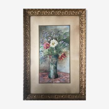 """Tableau aquarelle """"bouquet de fleurs champêtres"""" signé + cadre"""