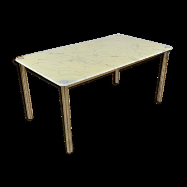 Table design vintage italien marbre et chrome 1970