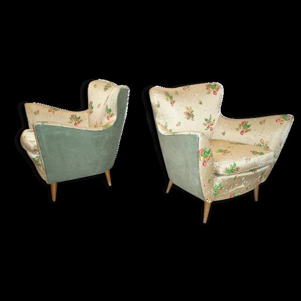 1/2 fauteuil club années 50 60 italien Giulia Veronesi ( + 1 canapé aussi disponible )
