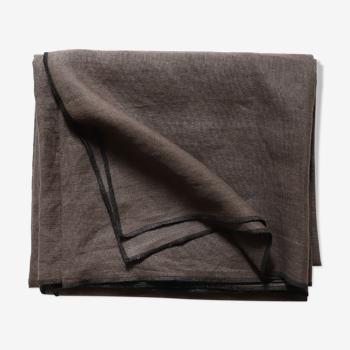 Brown linen tablecloth