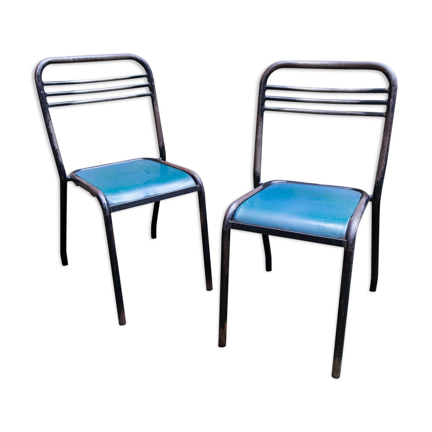 Paire de chaises Jean Pauchard tolix pour le campus de Dijon
